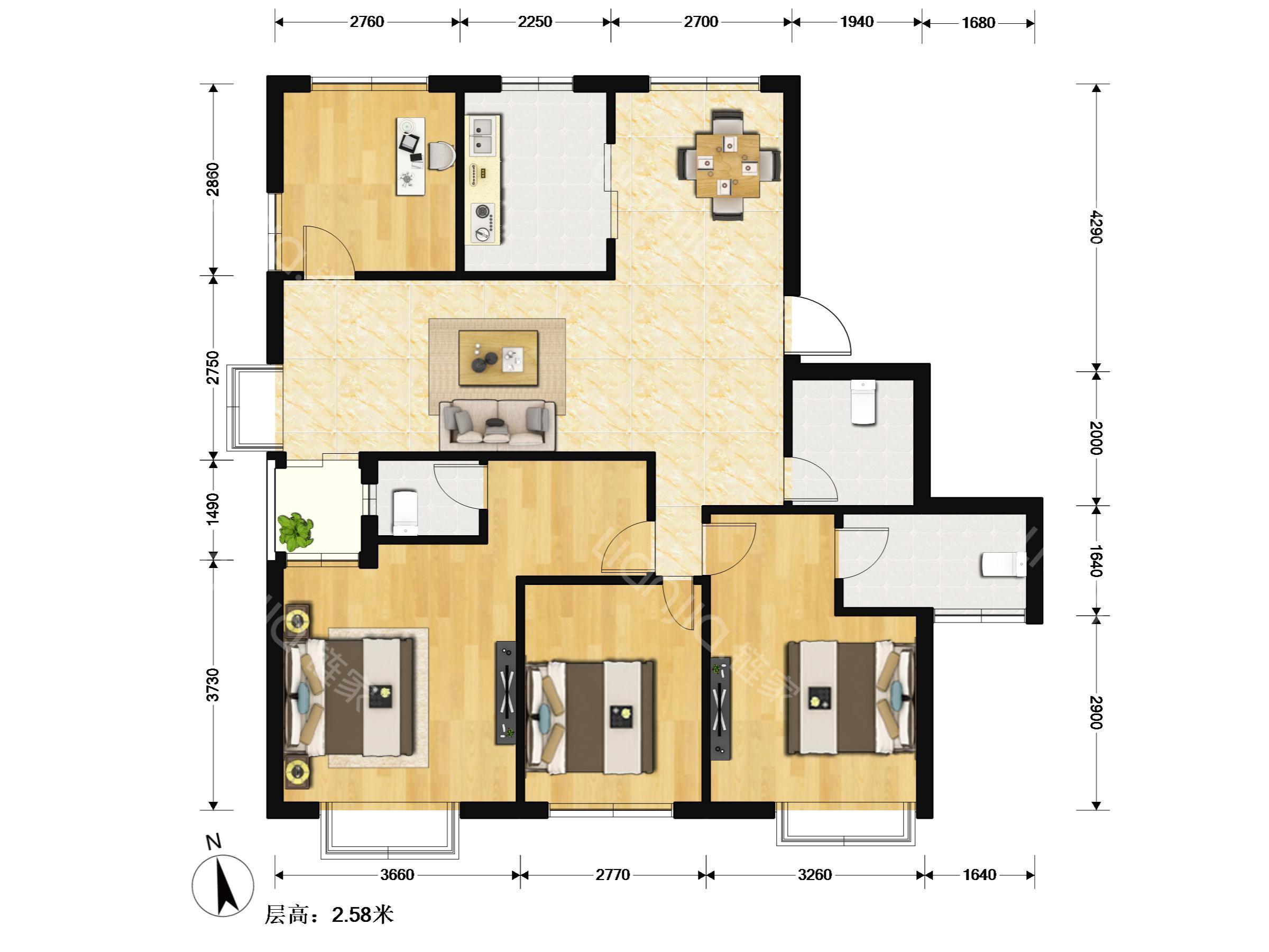 农村二层房四房一厅房屋设计图分享展示