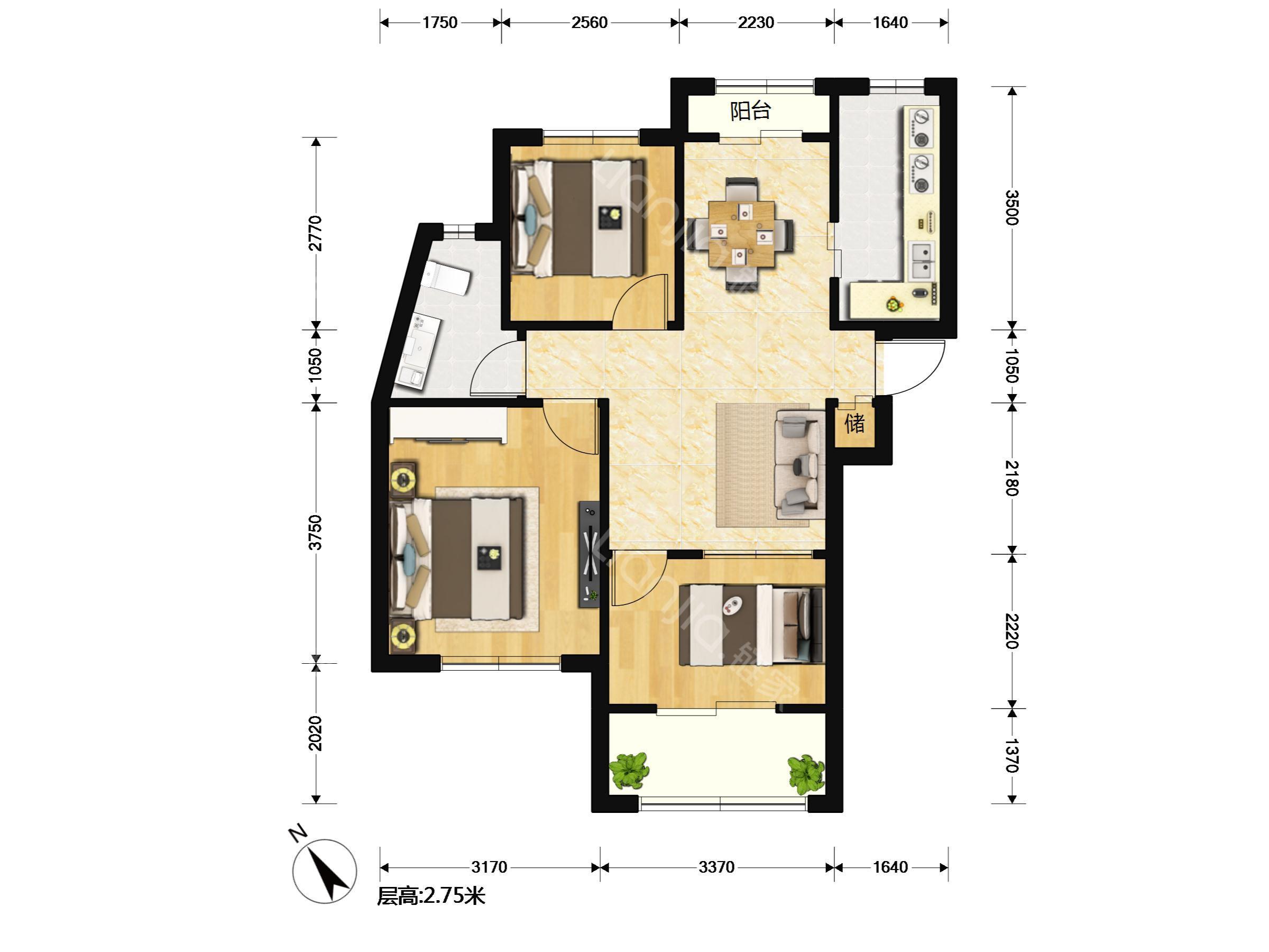 西郊半岛名苑,链家房源,高清实拍,两室户