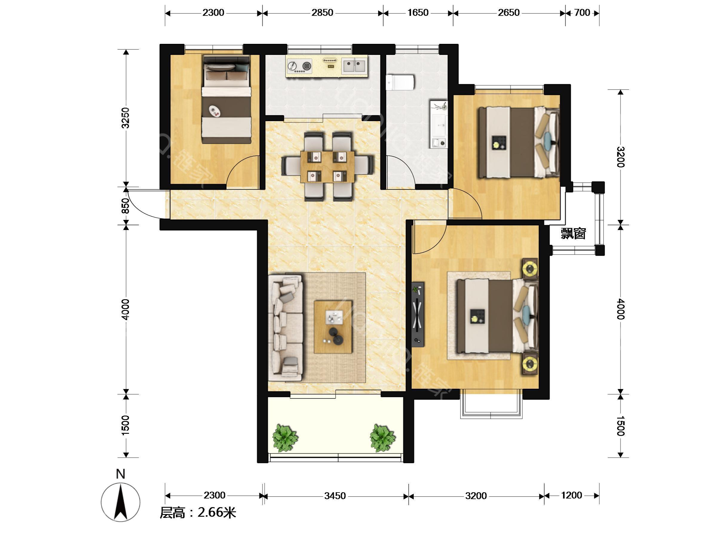 【户型装修】 南北通透,17楼的6楼,两房朝南,一房朝北,真正的飞机户型